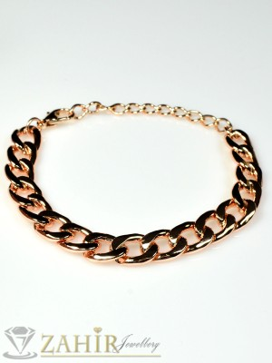 Класическа гривна верижка розово златно покритие -18 см- G1340