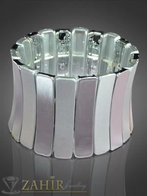 Спортно-елегантна ластична гривна сребриста - 4 см - G1431