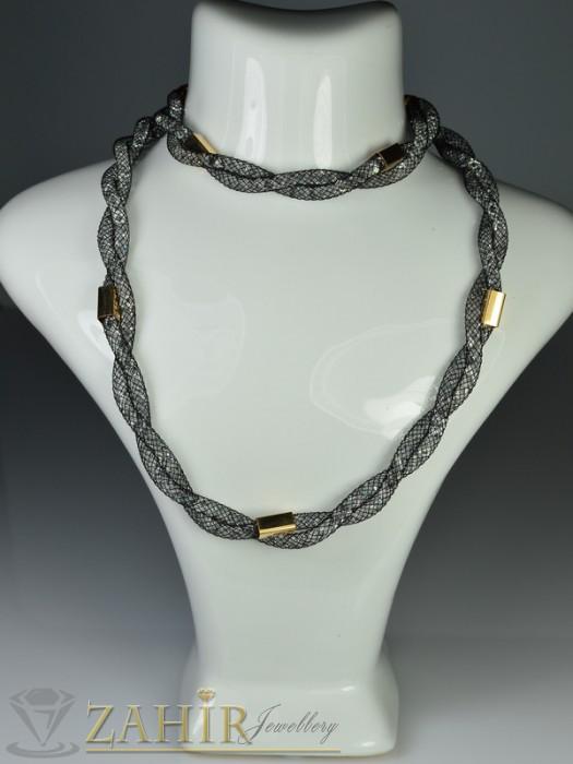 Бижутерия - Стилна графитена Дизайнерска гривна с кристали и златно покритие - 18+5 см - G1532
