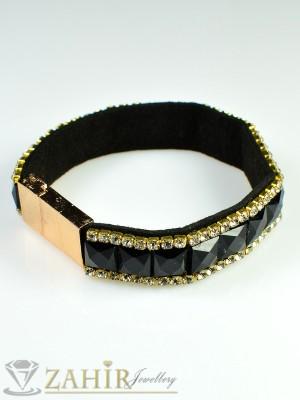 Луксозна гривна - 18 см с черни кристали, циркони и златно покритие - G1567