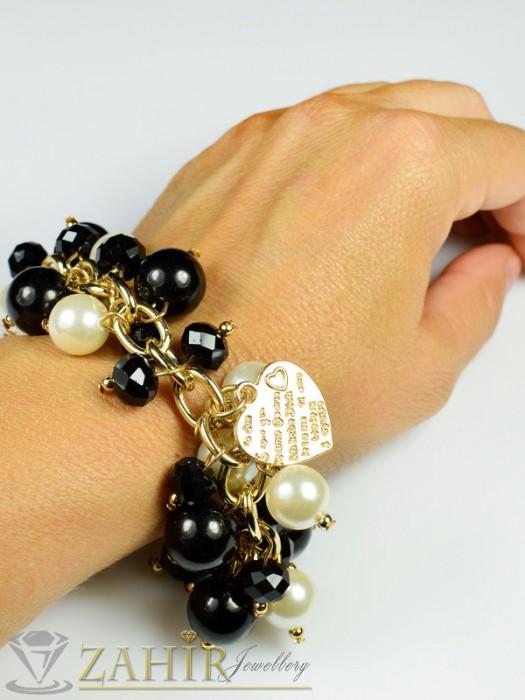 Бижутерия - Актуална черна перлена гривна - 18+5 см верижка със златно покритие - G1595