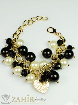 Актуална черна  перлена гривна - 18+5 см верижка със  златно покритие - G1595