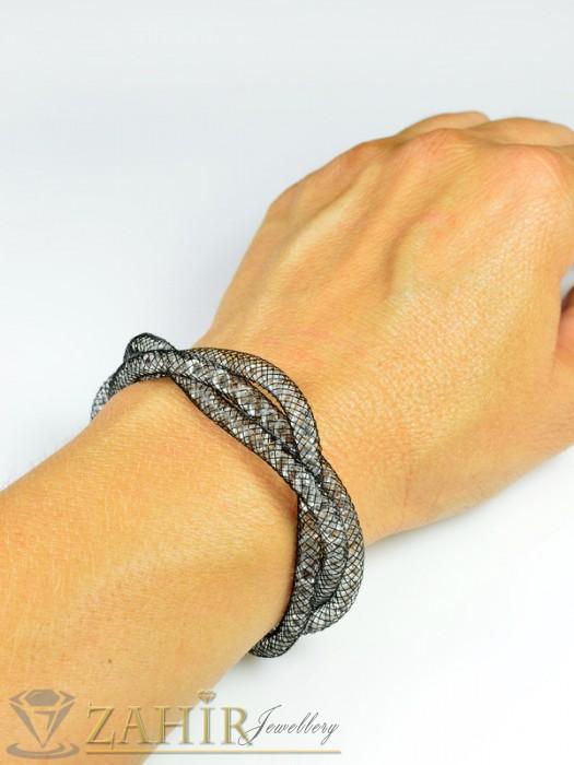 Бижутерия -  Дизайнерска - 18+5 см графитена с многобройни циркони - G1604