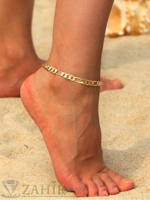 Класическа фигаро плетка гривна за крак от неръждаема стомана си с позлата и удължител - 22+5 см - GK1018
