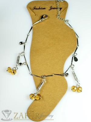 Супер гривна за крак от неръждаема стомана с кехлибарени кристали и удължител - 20+5 см - GK1025