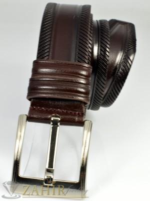Тъмнокафяв колан естествена телешка кожа, релефни орнаменти, широк 4,5 см - BM1009
