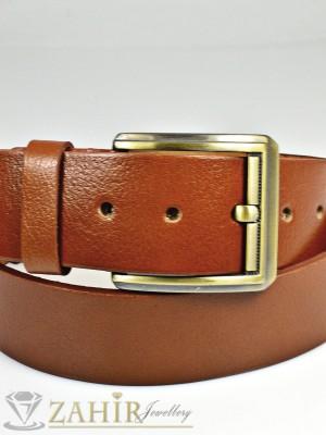 Кафяв изчистен колан  от естествена телешка кожа стилна класическа тока широк 4,5 см - BM1068