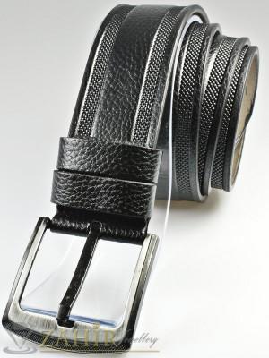 Черен колан с декоративни орнаменти, от еко кожа с класическа тока, широк 4,5 см - BM1125