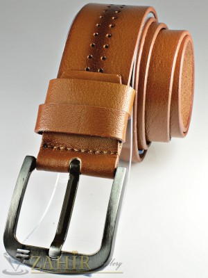 Кафяв изчистен колан с релефни орнаменти от естествена телешка кожа стилна класическа тока широк 4,5 см - BD1042