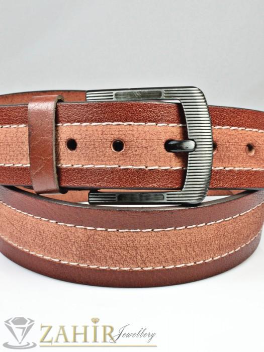 Кожени колани - Колан бордо с протрит ефект от естествена телешка кожа стилна класическа тока широк 4,5 см - BD1047