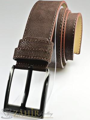 Тъмнокафяв колан с декоративни шевове, от еко кожа велур с класическа тока, широк 4,5 см - BD1086