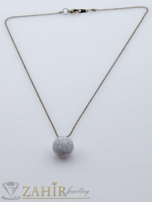 Дамски бижута - Матова сребриста топка 1,5 сн на тънка верижка 45 см, сребърно покритие - K1709