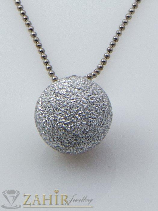 Матова сребриста топка 1,5 сн на тънка верижка 45 см, сребърно покритие - K1709