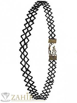 Нежен черен рязан чокър 30 см с удължител 5 см, сребриста закопчалка - K1196