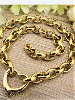 Позлатен стоманен ланец в 4 размера с висулка сърце, широк 1 см, модна плетка, регулиращ се - K1349