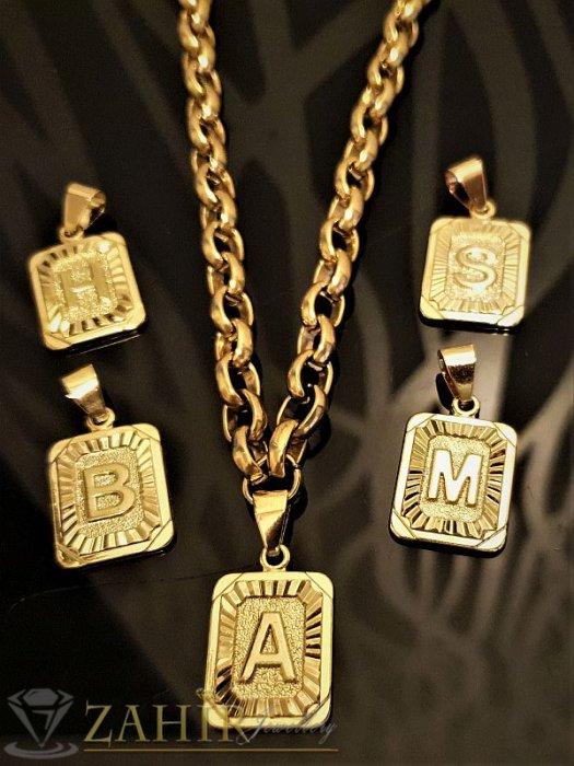 Дамски бижута - Дамски ланец с 26 инициала букви, наличен в 2 дължини , материал позлатена стомана - K1413