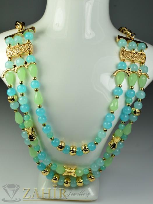 Бижутерия - Модно колие със сини и зелени кристали и златно покритие - 50 см - K1383
