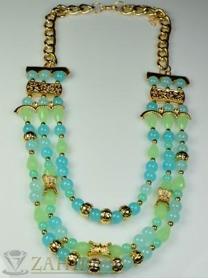 Модно колие със сини и зелени кристали и златно покритие - 50 см - K1383