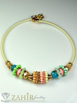 Колие обръч с разноцветни кристалчета и златно покритие - 40 см - K1386