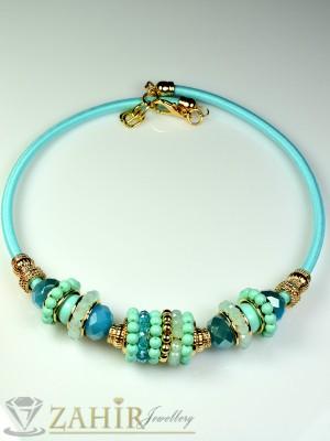 Колие обръч със сини кристалчета и златно покритие - 40 см - K1388