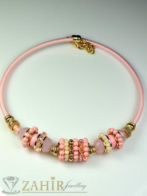 Колие обръч с розови кристалчета и златно покритие - 40 см - K1390