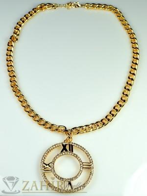 Моден ланец - 45 см с плочка с циркони - 4 см и златно покритие - K1420