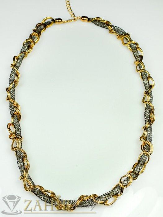 Дамски бижута - Елегантно колие 60 см , графитени тубички с кристали и позлатени халки - K1519