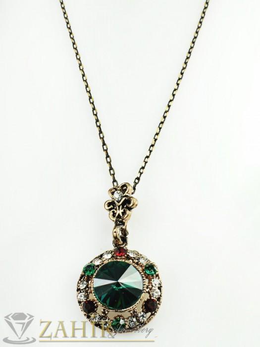 Дамски бижута - Елегантно колие - 40 см с цвят старинно злато, с висулка - 4 см със зелен или червен кристал - избери - K1465