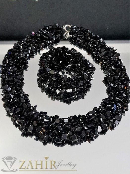 Елегантно колие 45 см и ластична гривна с фасетирани черни камъни оникс чипс  - KO1439