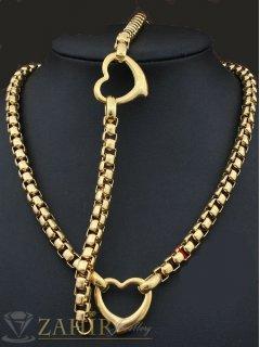 Актуален стоманен комплект ланец и гривна в 4 размера със сърца, златно покритие - KO1466