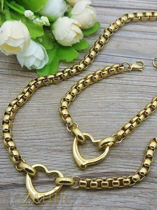 Бижутерия -  Актуален стоманен комплект  ланец и гривна в 4 размера със сърца, златно покритие - KO1466