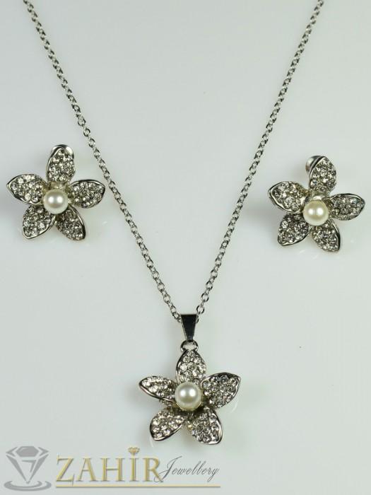Перлено цвете с циркони - 2 см , обеци - 2 см и колие - 40+5 см - 40+5 см - KO1390