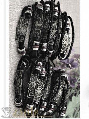 Сребристи зодиакални плочки 12 модела на черна кожена регулируема гривна - MG1027