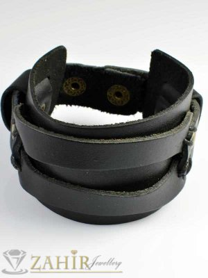 2019 хит черна кожена гривна естествена кожа, широка 4,5 см, регулираща се дължина - MG1044