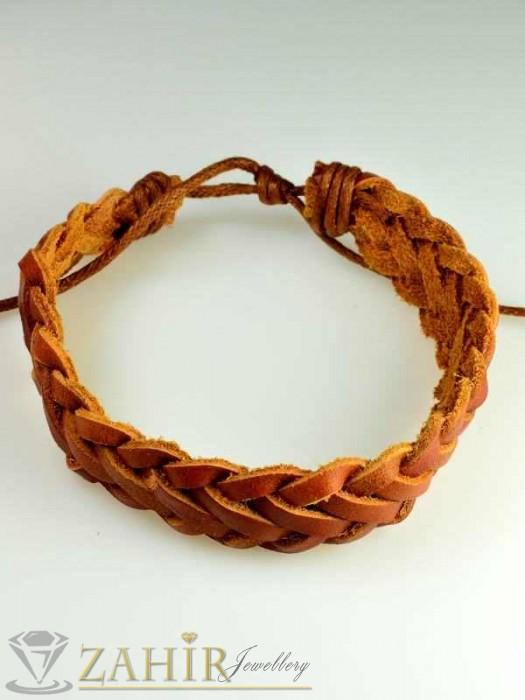 Актуална плетена светлокафява кожена гривна, широка 1,5 см, регулираща се дължина - MG1092