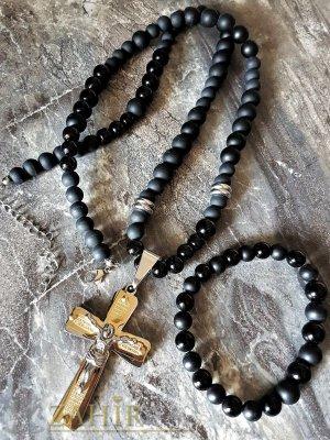 Черна броеница от оникс и ахат 65+5 см със стоманен кръст - 5 см и подарък гривна в 3 размера  - MK1021