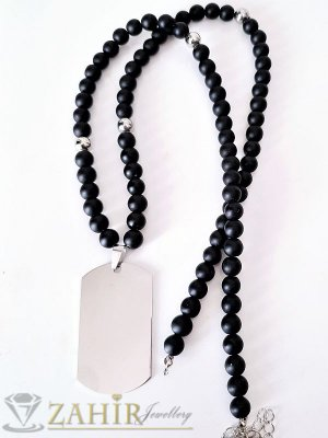 Броеница с естествен черен оникс - 65+5 см и висулка полирана стоманена плочка - 5 см - MK1112