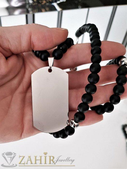 Бижута за мъже - Броеница с естествен черен оникс - 65+5 см и висулка полирана стоманена плочка - 5 смм - MK1112