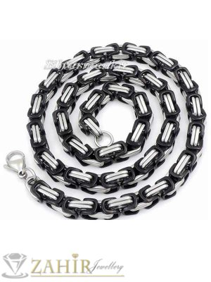 Мъжки ланец 60 см от неръждаема стомана с черни елементи, широк 0,7 см - MK1132