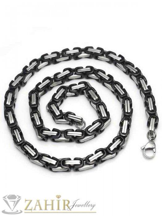 Бижута за мъже - Мъжки ланец 60 см от неръждаема стомана с черни елементи, широк 0,6 см - MK1133