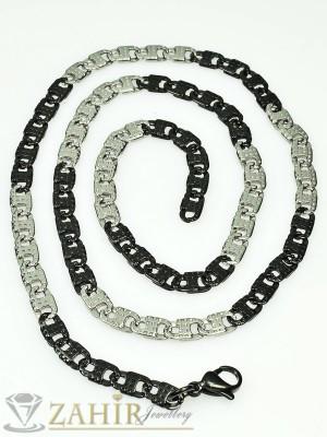 Мъжки ланец от неръждаема стомана - 56 см фина плетка с черни детайли, широк 0,5 см - MK1161