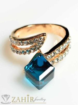 Стилен пръстен син куб с циркони и златно покритие - P1261