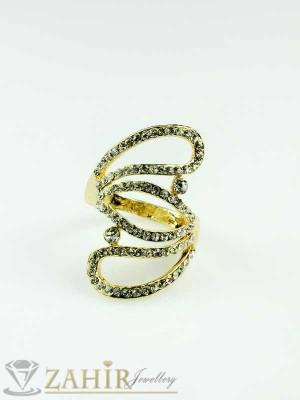 Елегантен пръстен с циркони и златно покритие - P1298