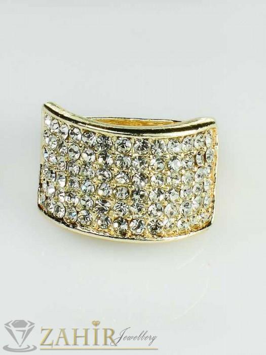 Бижутерия - 2019 хит класически пръстен с многобройни кристали и златно покритие - P1316