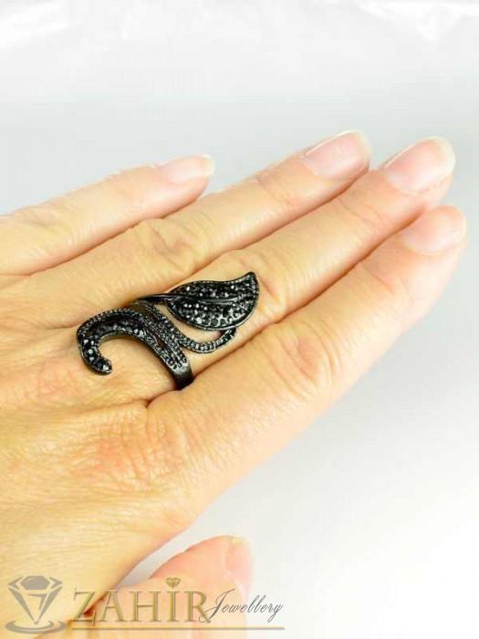 Бижутерия - Красив черен пръстен листа с черни кристали, изящна изработка - P1326