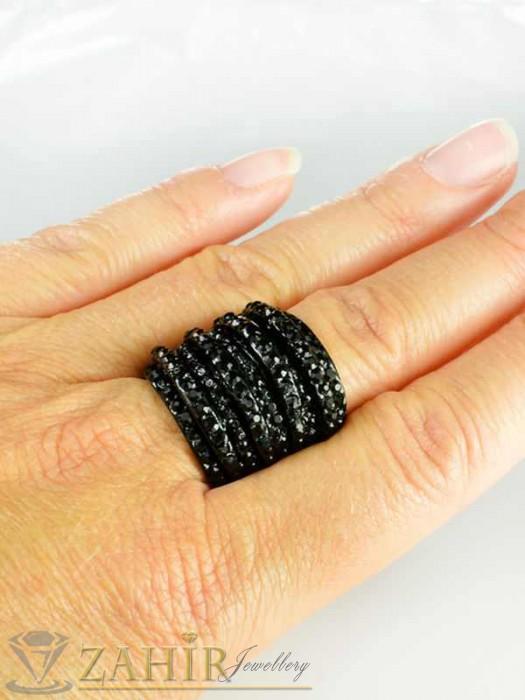 Бижутерия - Масивен черен пръстен с фасетирани черни кристали - P1327