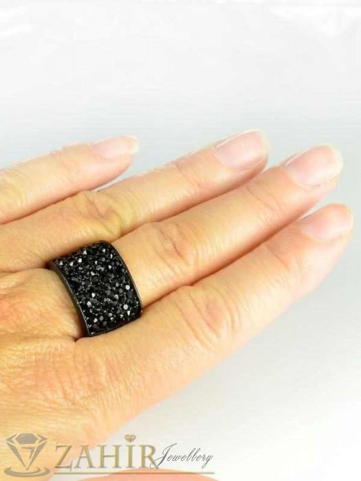 Бижутерия - Класически черен пръстен с фасетирани черни кристали - P1328
