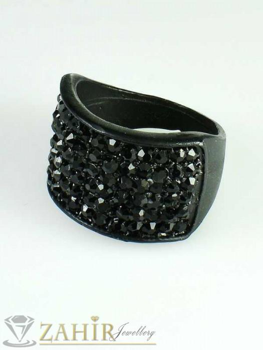 Класически черен пръстен с фасетирани черни кристали - P1328