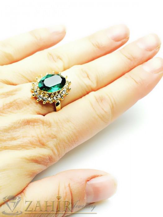Дамски бижута - Красив пръстен с голям зелен кристал и бели циркони, златно покритие - P1336