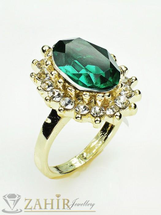 Красив пръстен с голям зелен кристал и бели циркони, златно покритие - P1336